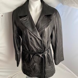Marcia Collection soft black leather coat XL